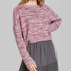 Wild Fable pink crewneck tinsel sweater
